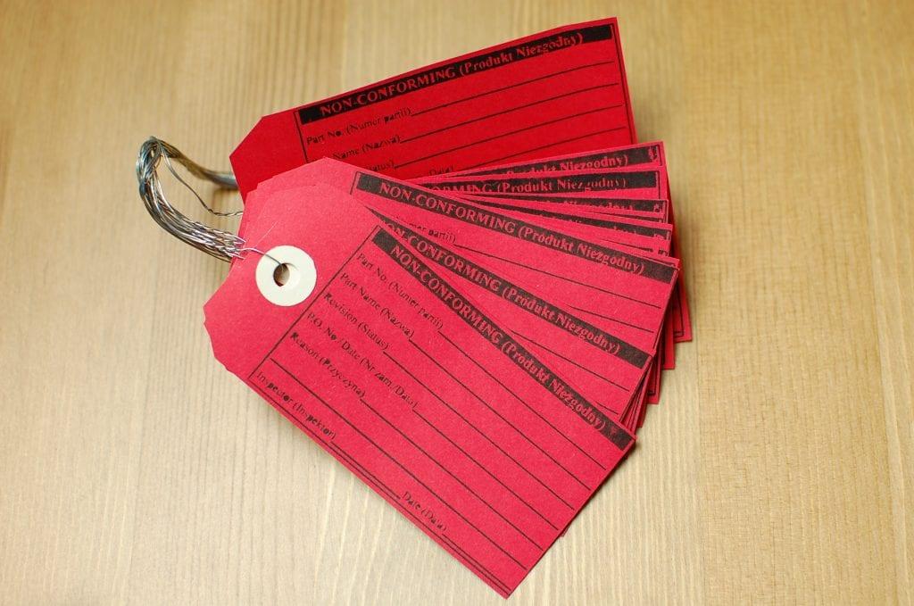 Czerwona etykieta 5S - metoda 5s