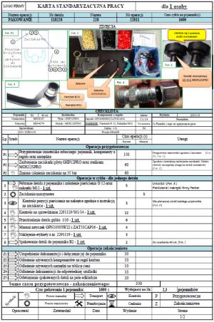 Karta standaryzacyjna pracy - co zawiera