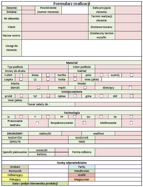 Przepływ inormacji - formularz
