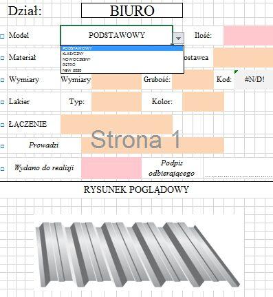 Zlecenie produkcyjne w Excelu