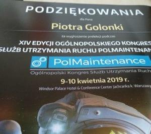 Kongres PolMaintenance 2019 prelegent podziękowania relacja
