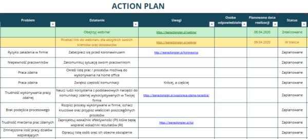 Webinar - Action Plan - działania w czasach kryzysu
